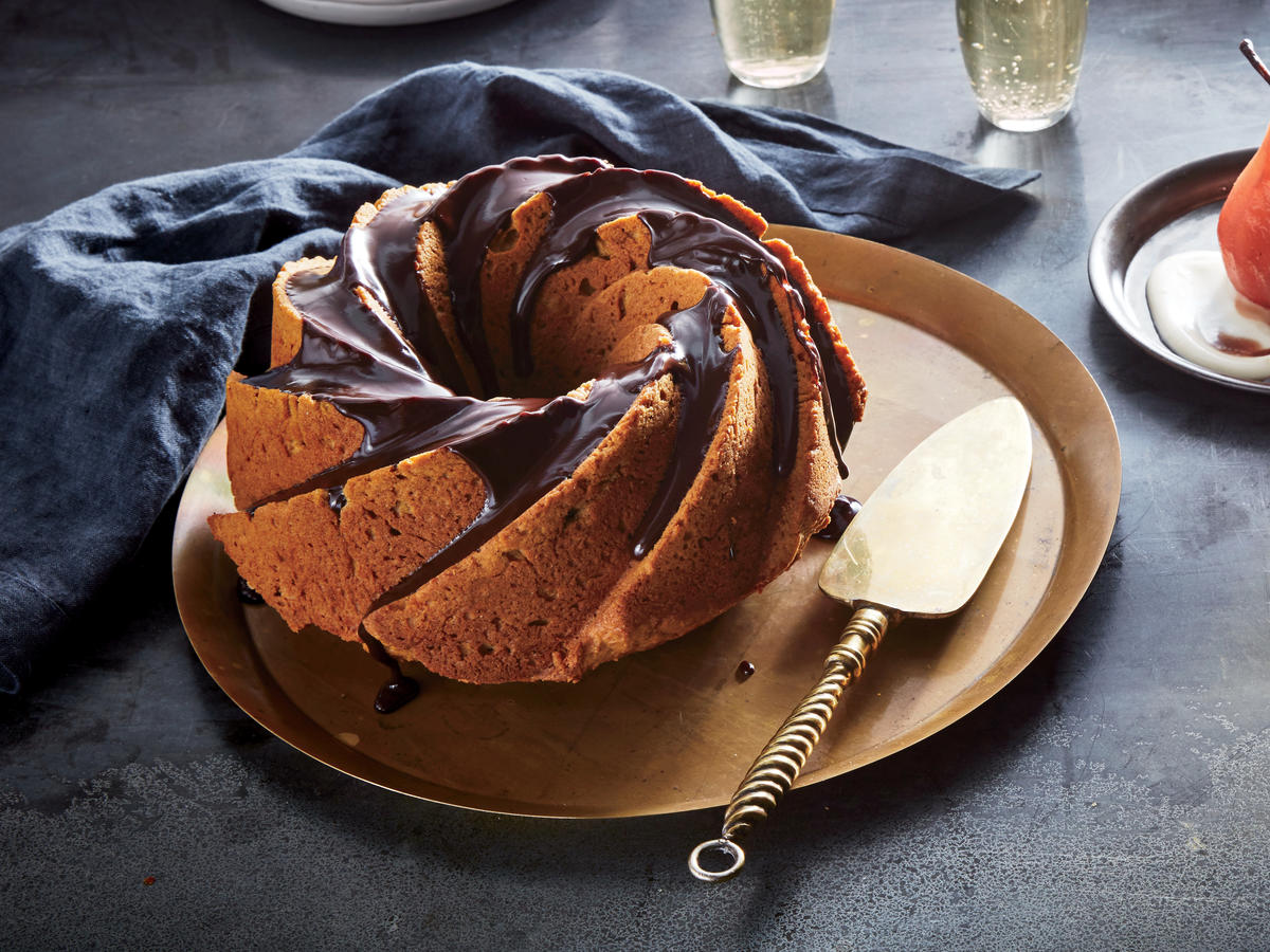 Pumpkin Bundt Cake with Chocolate Glaze
