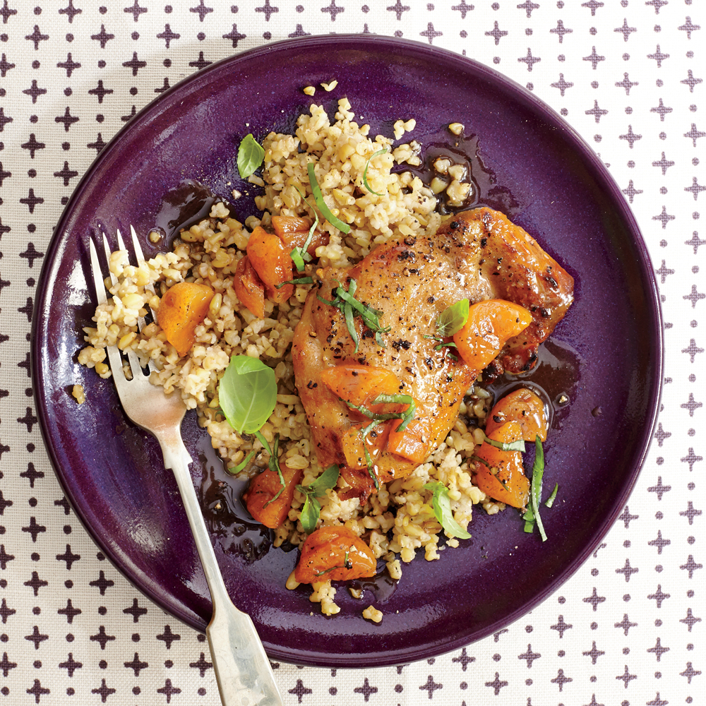 Apricot-Basil Chicken with Freekeh