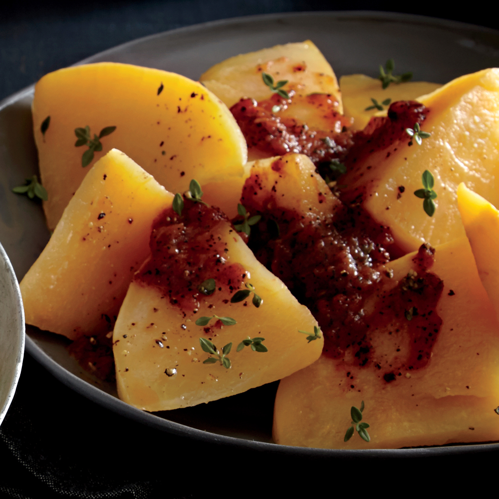Baked Rutabaga with  Red-Eye  Tomato Sauce