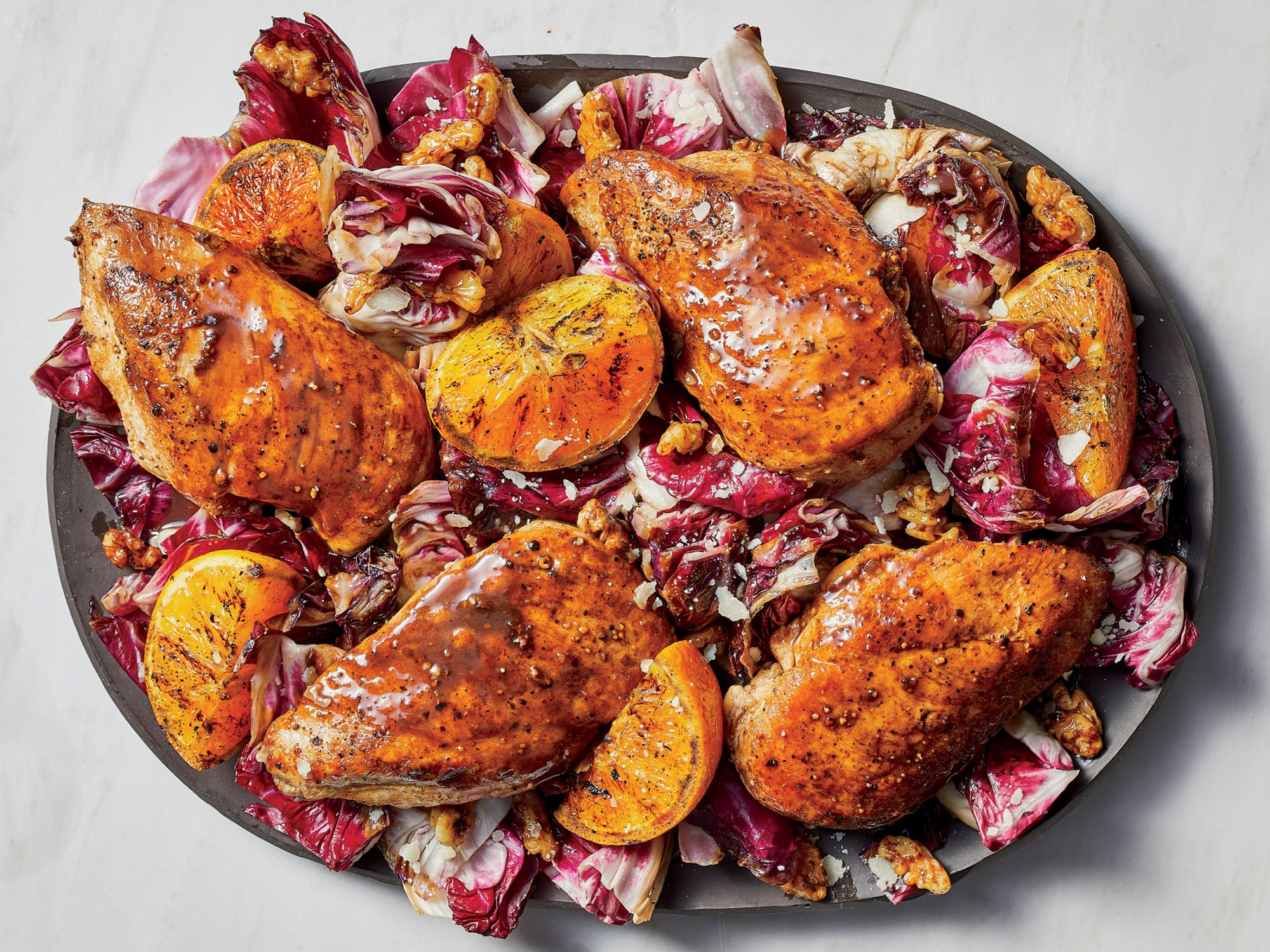 Balsamic Chicken with Oranges and Radicchio