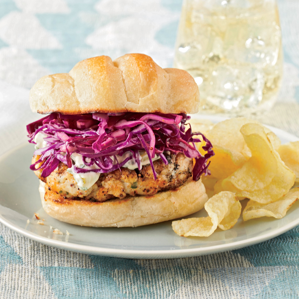 Blackened Grouper Burgers with Red Cabbage Slaw