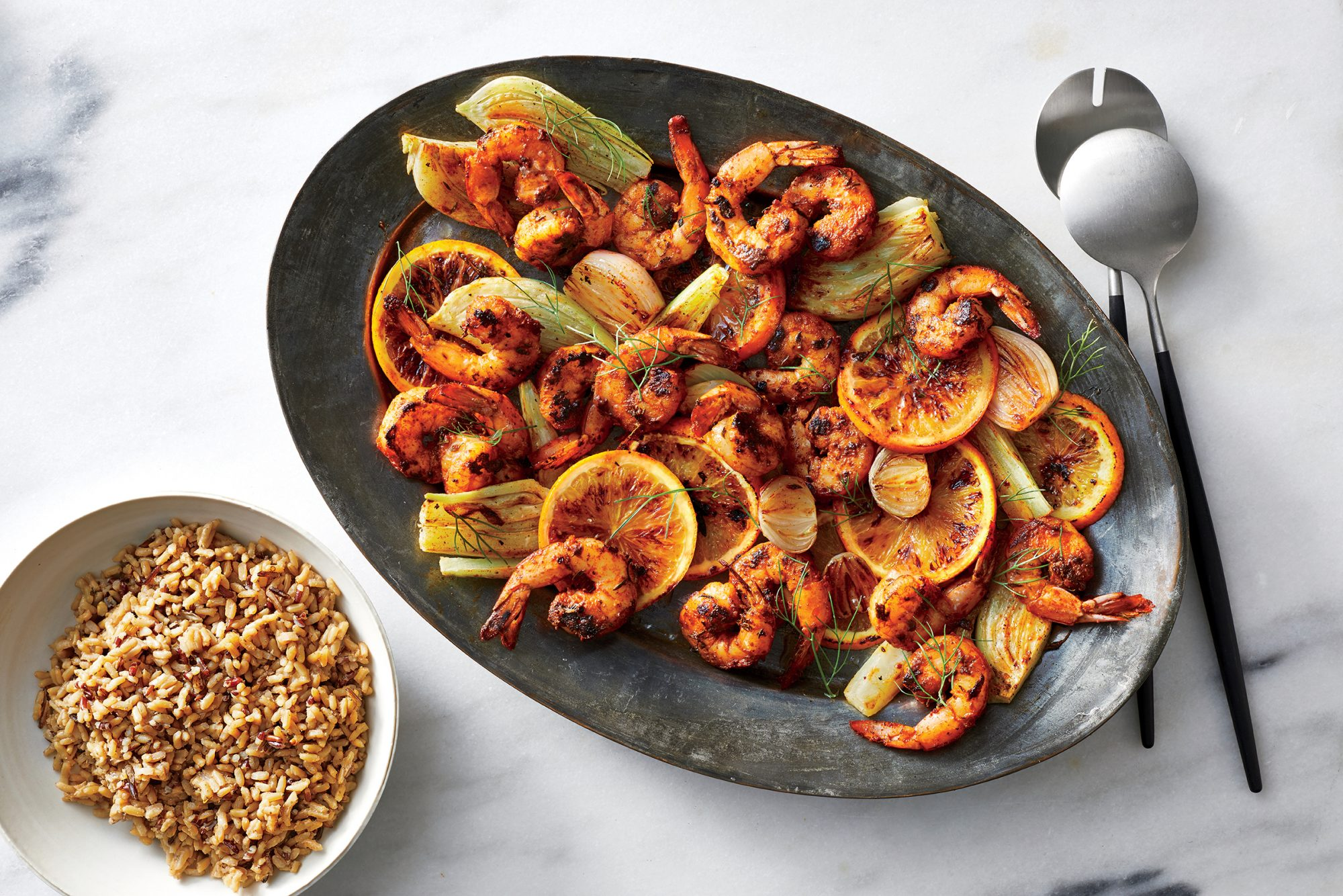 Blackened Shrimp with Citrus and Roasted Fennel