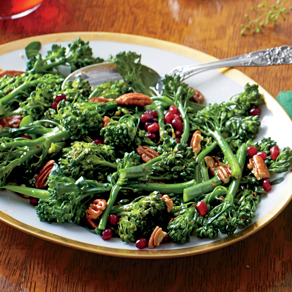 Broccolini with Pecans and Cane Syrup Vinaigrette