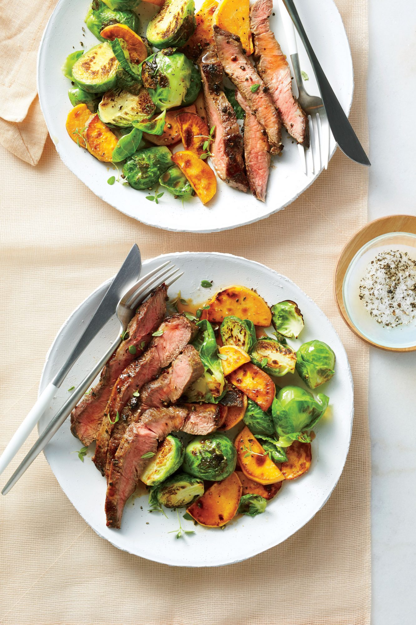 Broiled Flat Iron Steak with Brussels Sprouts and Sweet Potatoes image