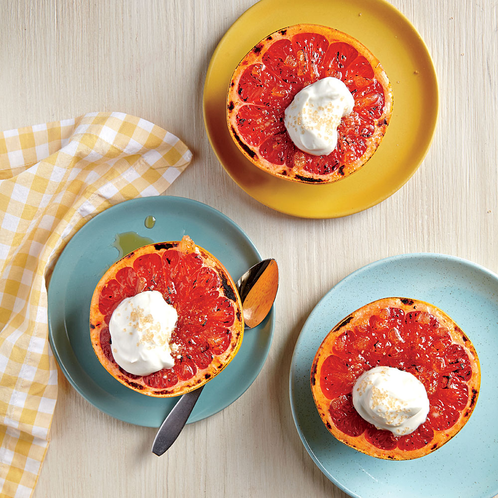 Broiled Grapefruit with Ginger and Maple Cream