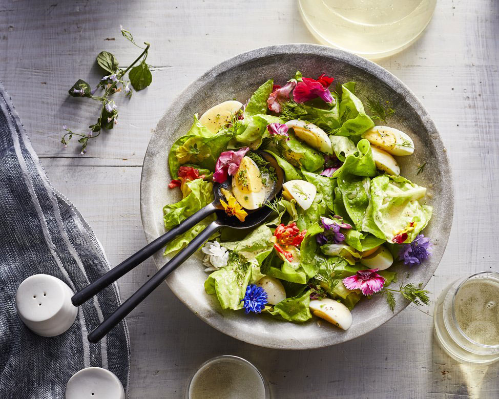 Butter Lettuce Salad with Parmesan Tuiles and Almonds