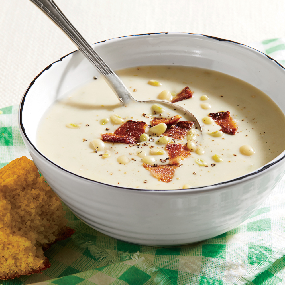 Buttermilk-Lady Pea Soup with Bacon