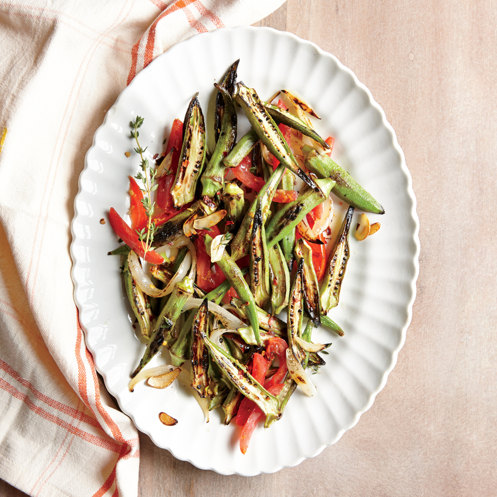 Charred Okra with Tomatoes