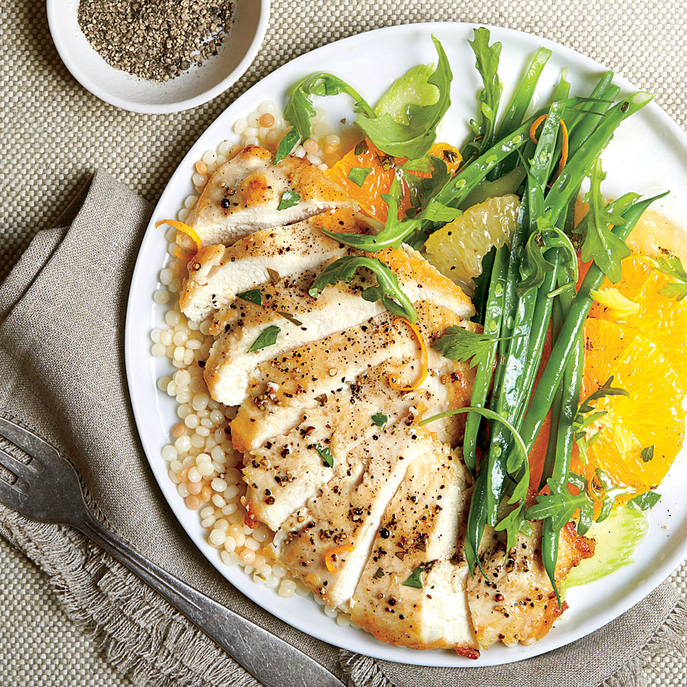 Chicken Paillard with Citrus Salad and Couscous