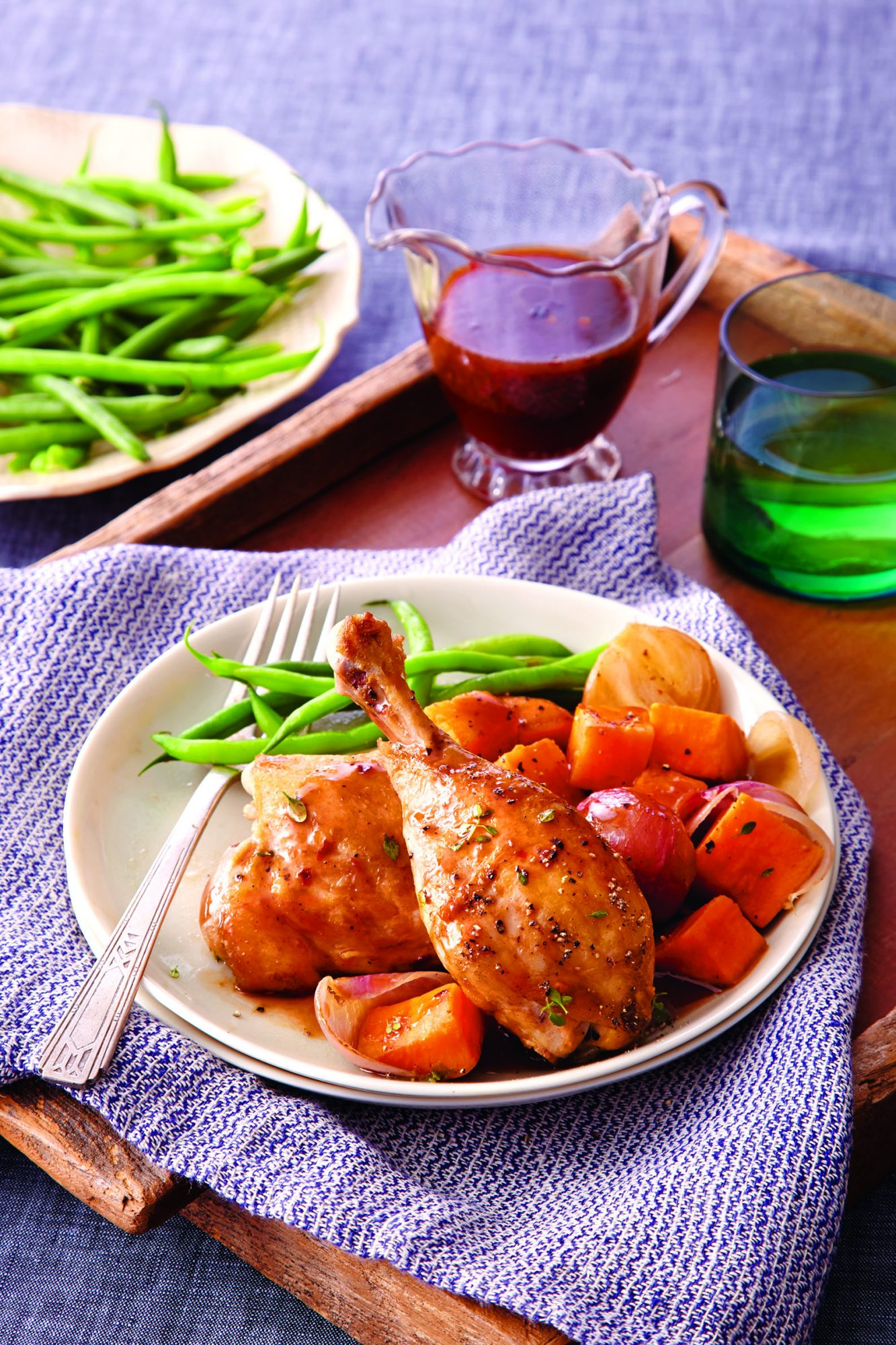 Chicken and Sweet Potatoes with Raspberry-Balsamic Reduction