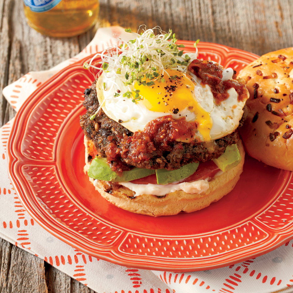 Chipotle Black Bean Burgers with Fried Egg and Avocado
