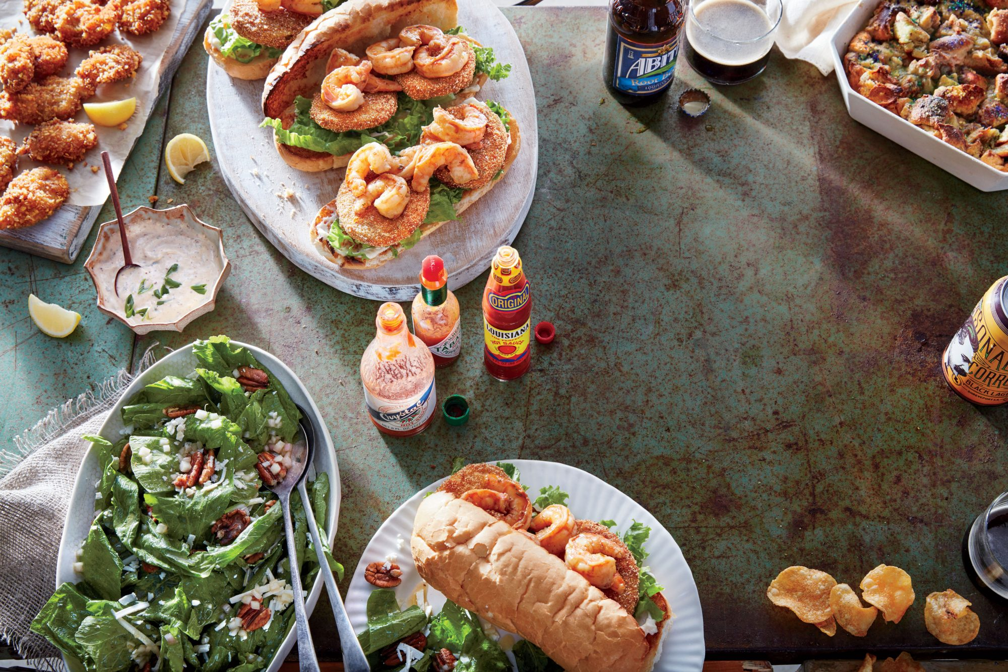 Barbecue Shrimp Po' Boys with Fried Green Tomatoes