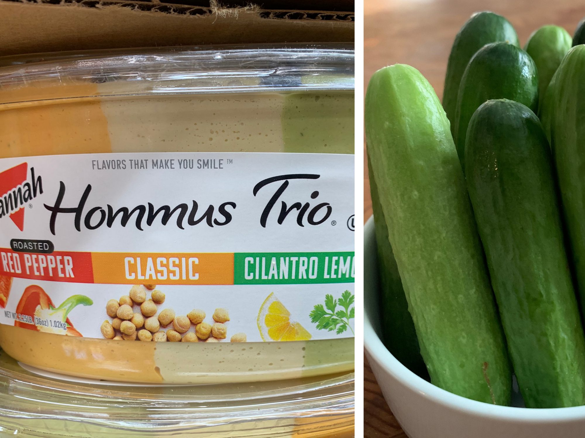 Hommos Trio and Baby Persian Cucumbers