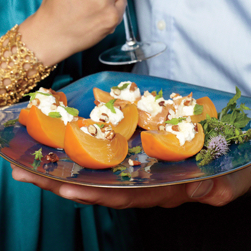 Crisp Persimmon with Ricotta, Honey, Pecans, and Mint