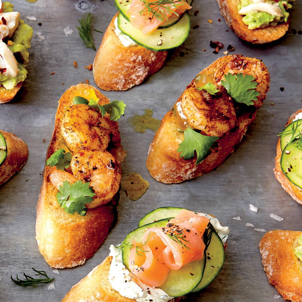 Crostini with Jerk Shrimp and Pineapple Chutney