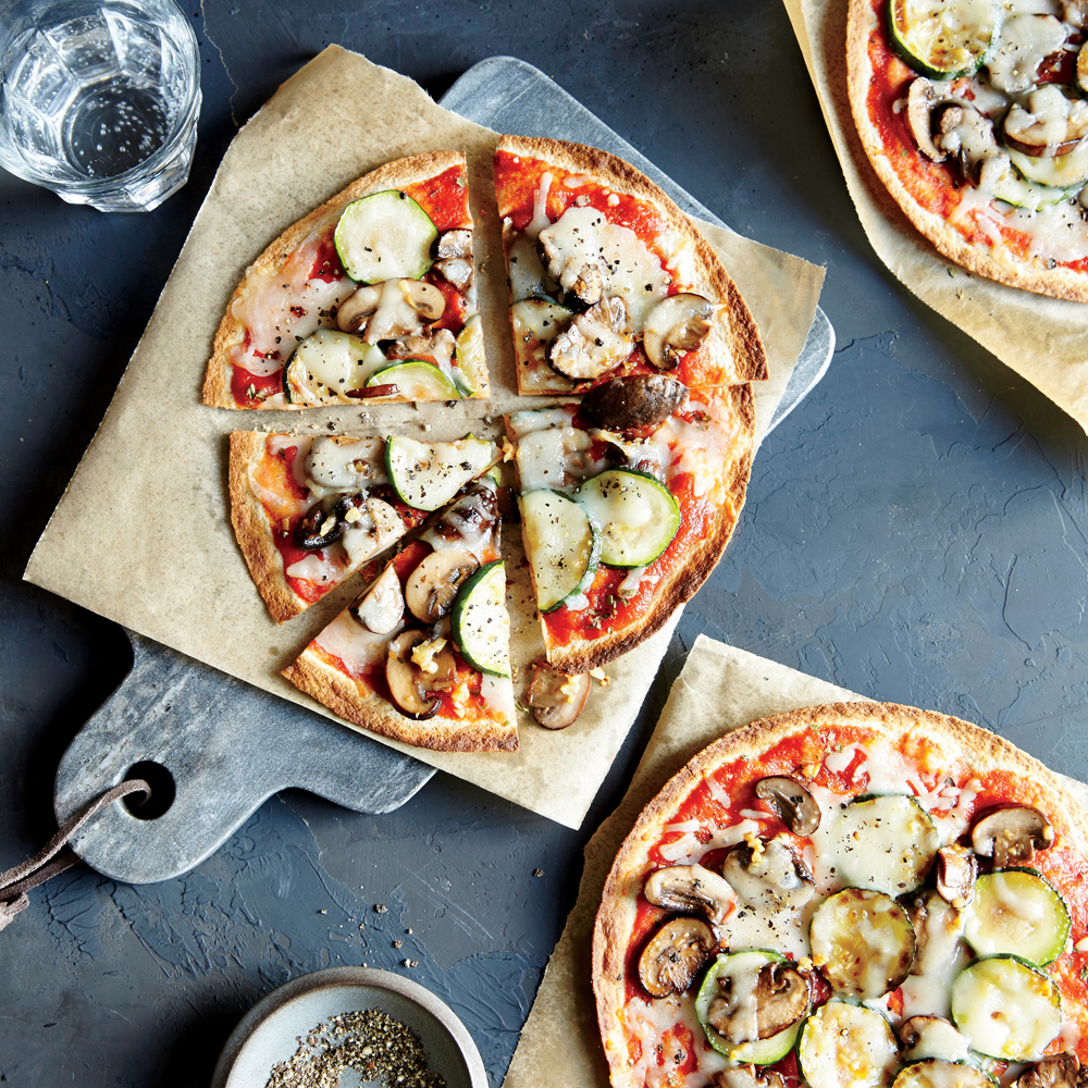 Crunchy Whole-Wheat Veggie Pizzas