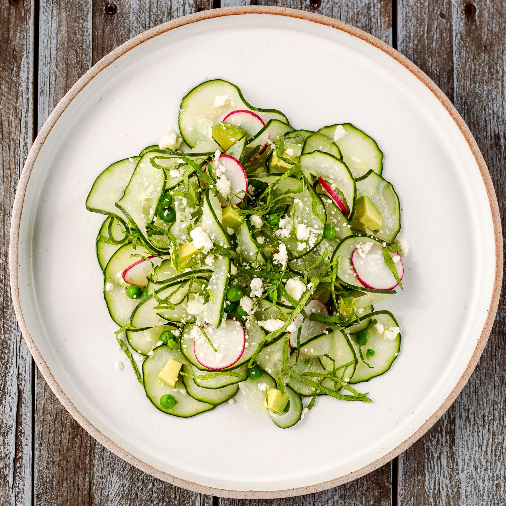 Cucumber and Pea Salad with Mint and Feta