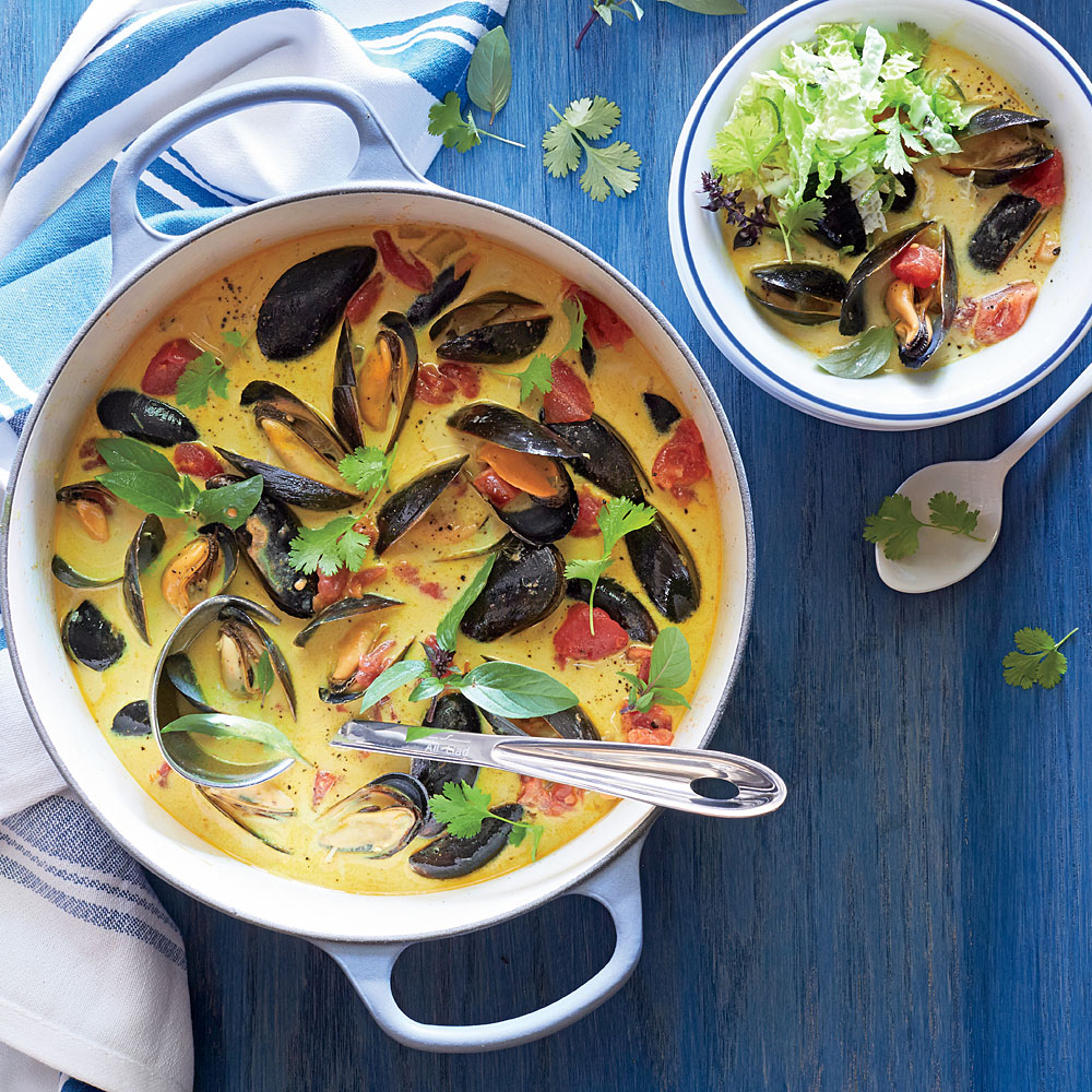 Curried Mussel Soup with Lime Slaw