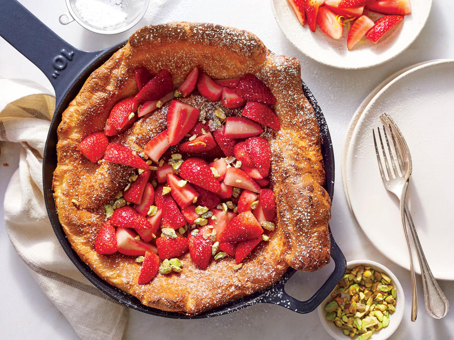 Dutch Baby with Strawberries and Pistachios