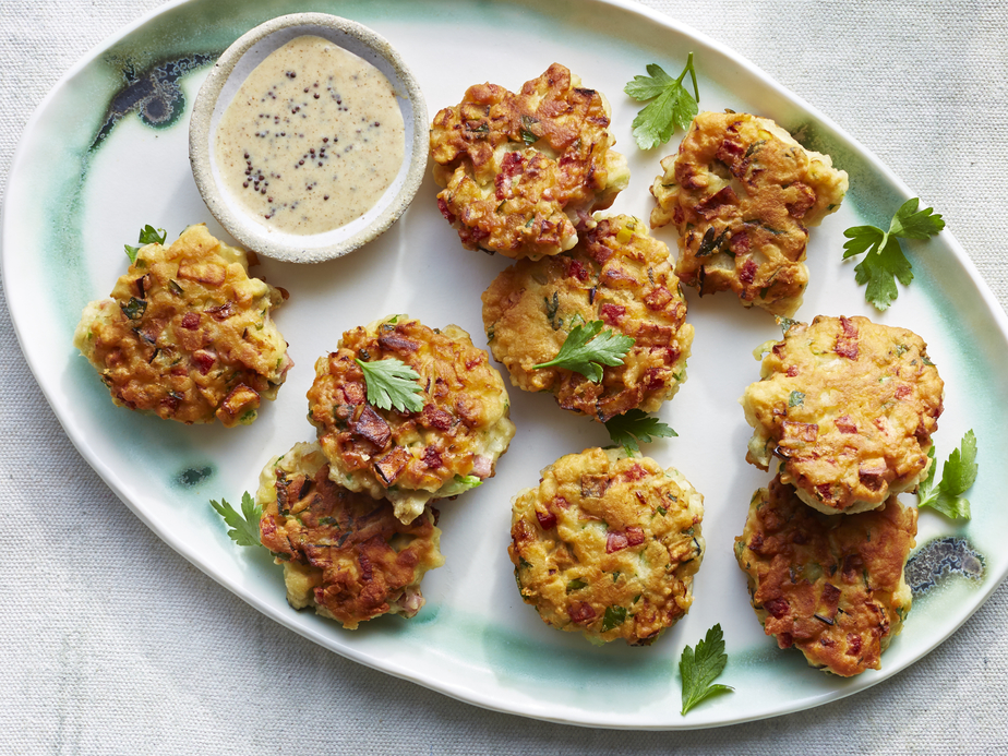 Eggplant and Ham Fritters with Creamy Mustard Sauce