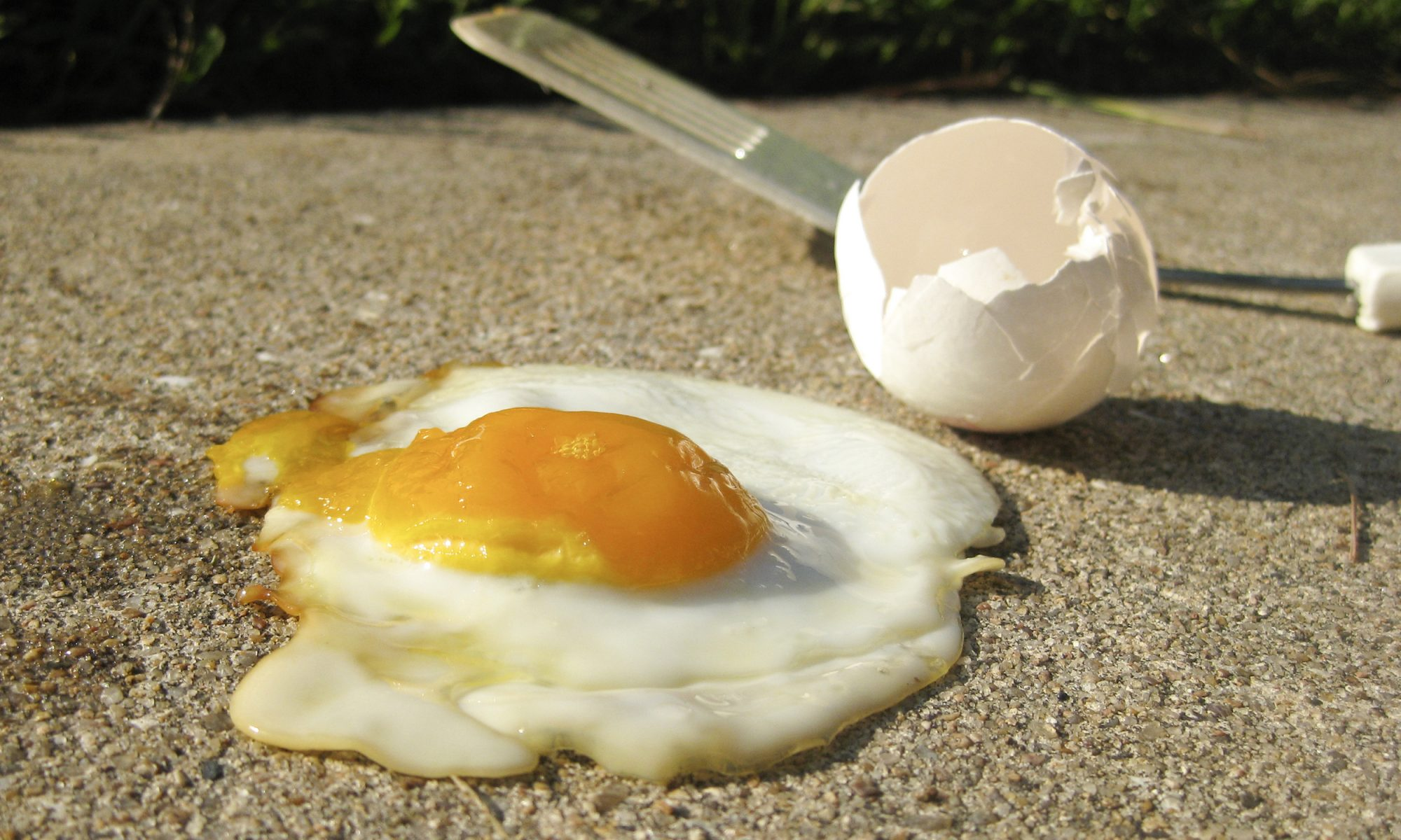 Fried egg on sidewalk