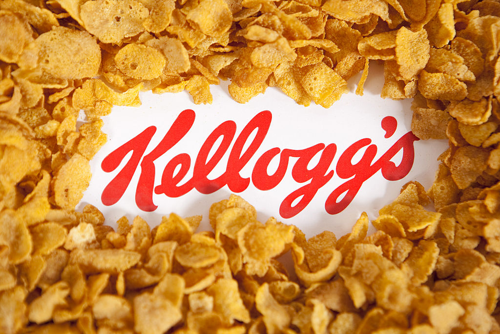 Illustrative image of the Kellogg's logo and famous branded corn flakes.