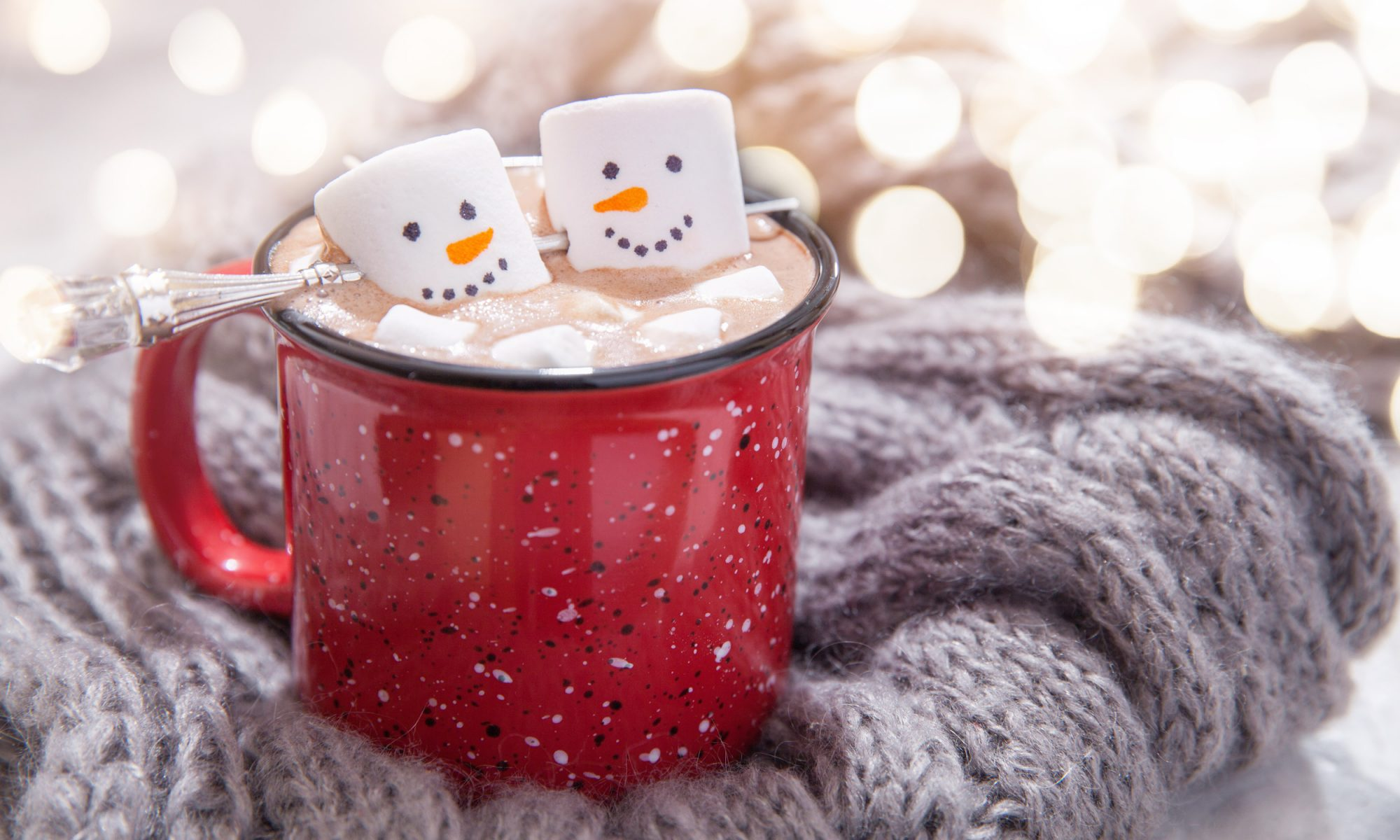 hot chocolate with snowman marshmallows
