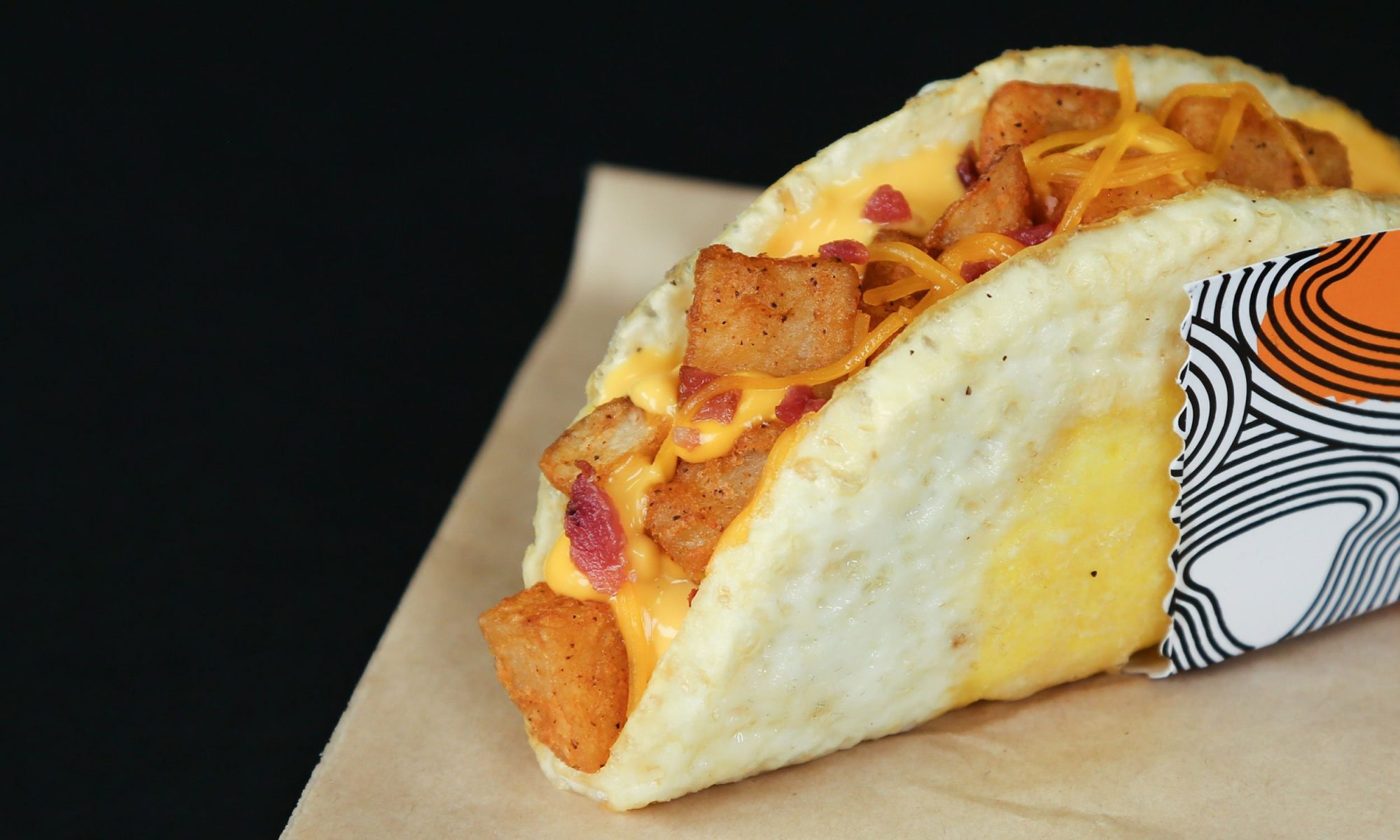 Taco Bell Breakfast Taco with Fried Egg as Shell, Filled with Potatoes and Cheese