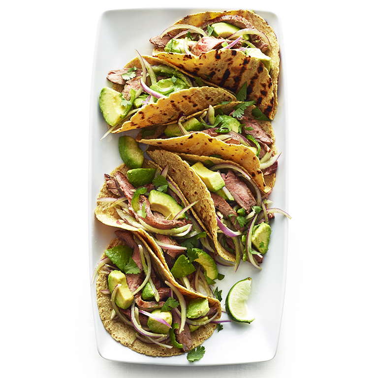 Flank Steak Tacos with Avocado and Red Onion Salad