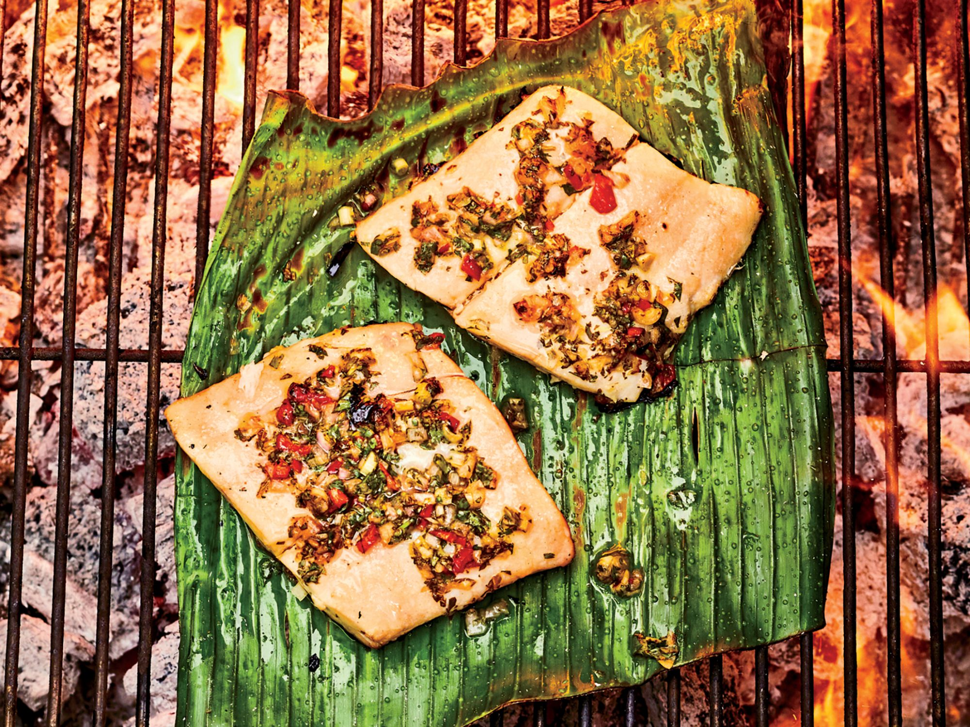 Flounder Grilled on Banana Leaves