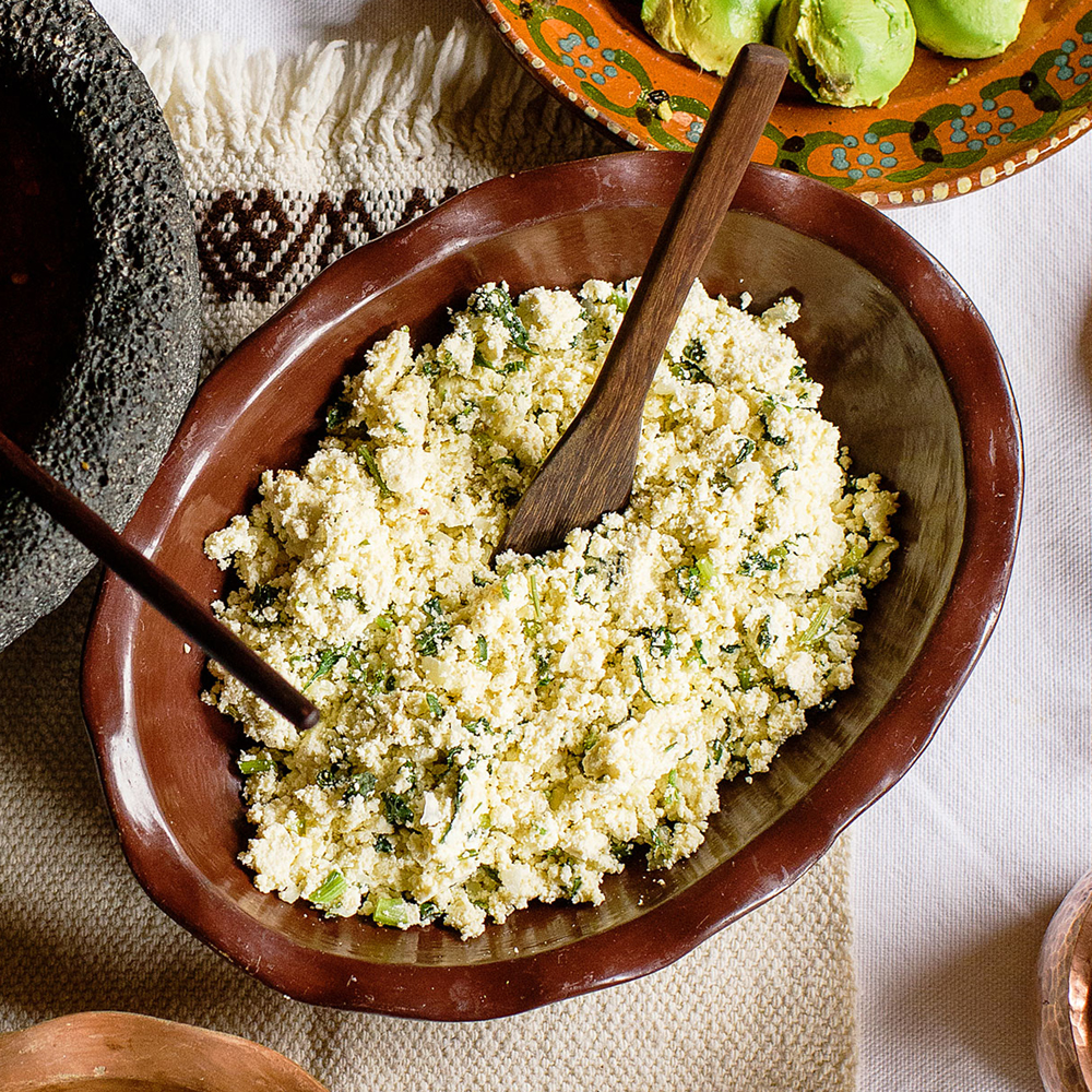 Fried Ricotta with Epazote and Green Chile