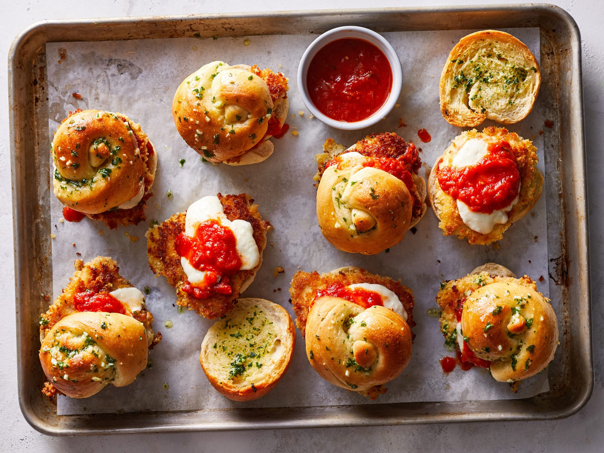 Garlic Knot Chicken Parmesan Sliders image