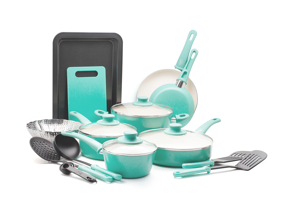 GreenLife 18-Piece Soft Grip Toxin-Free Healthy Ceramic Non-stick Cookware Set