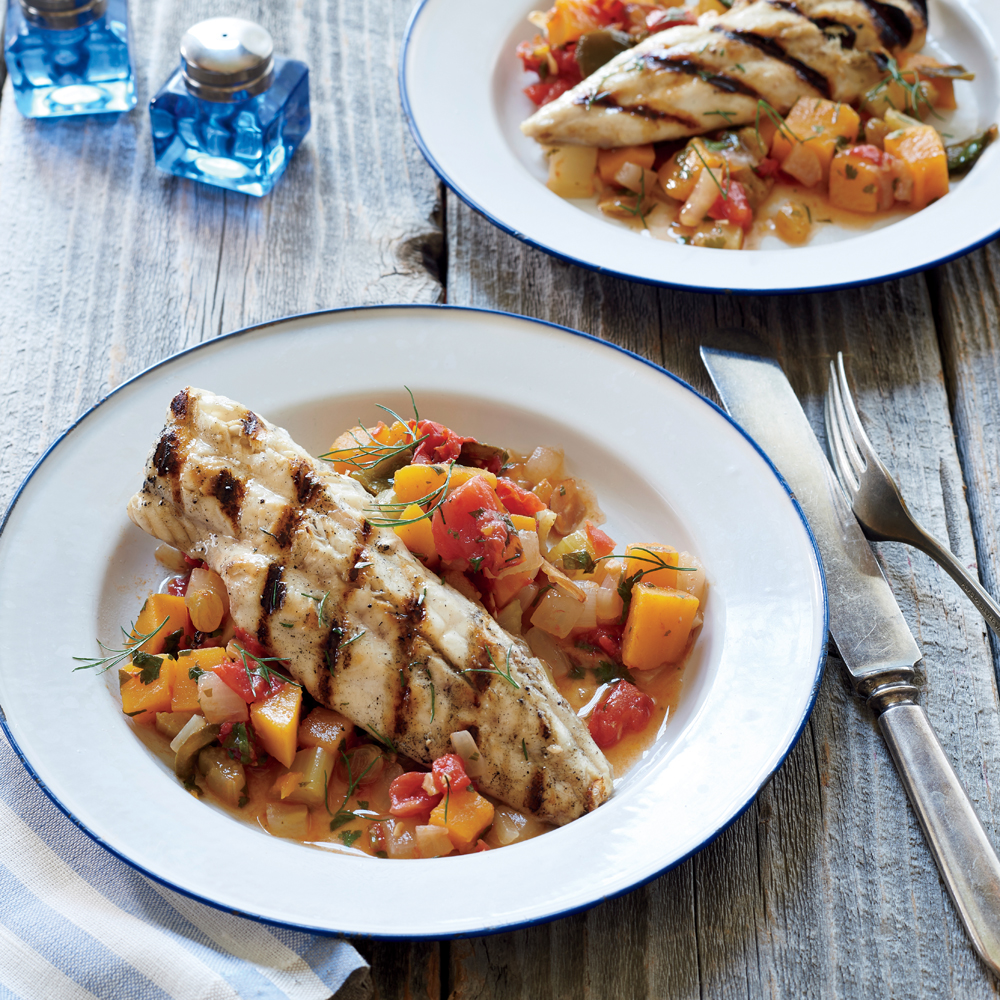 Grilled Dogfish on Late-Summer Caponata
