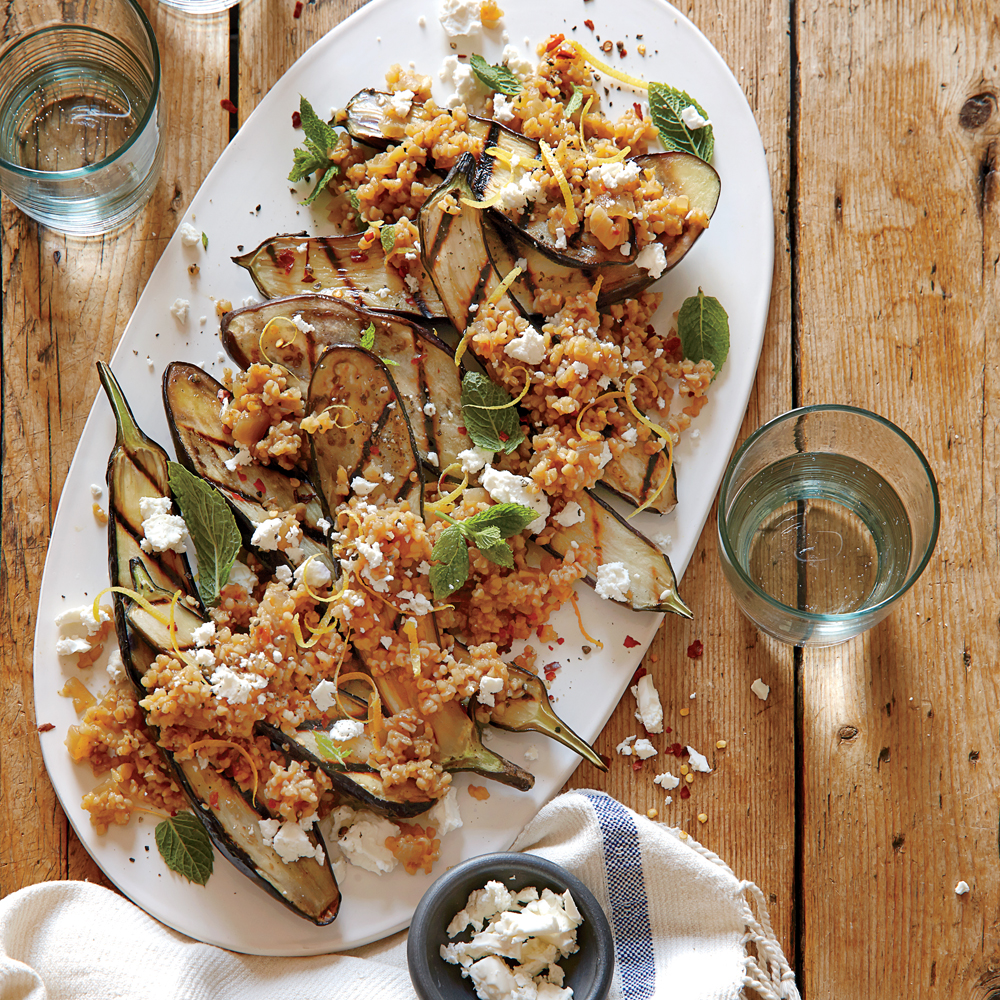 Grilled Eggplant with Freekeh Pilaf