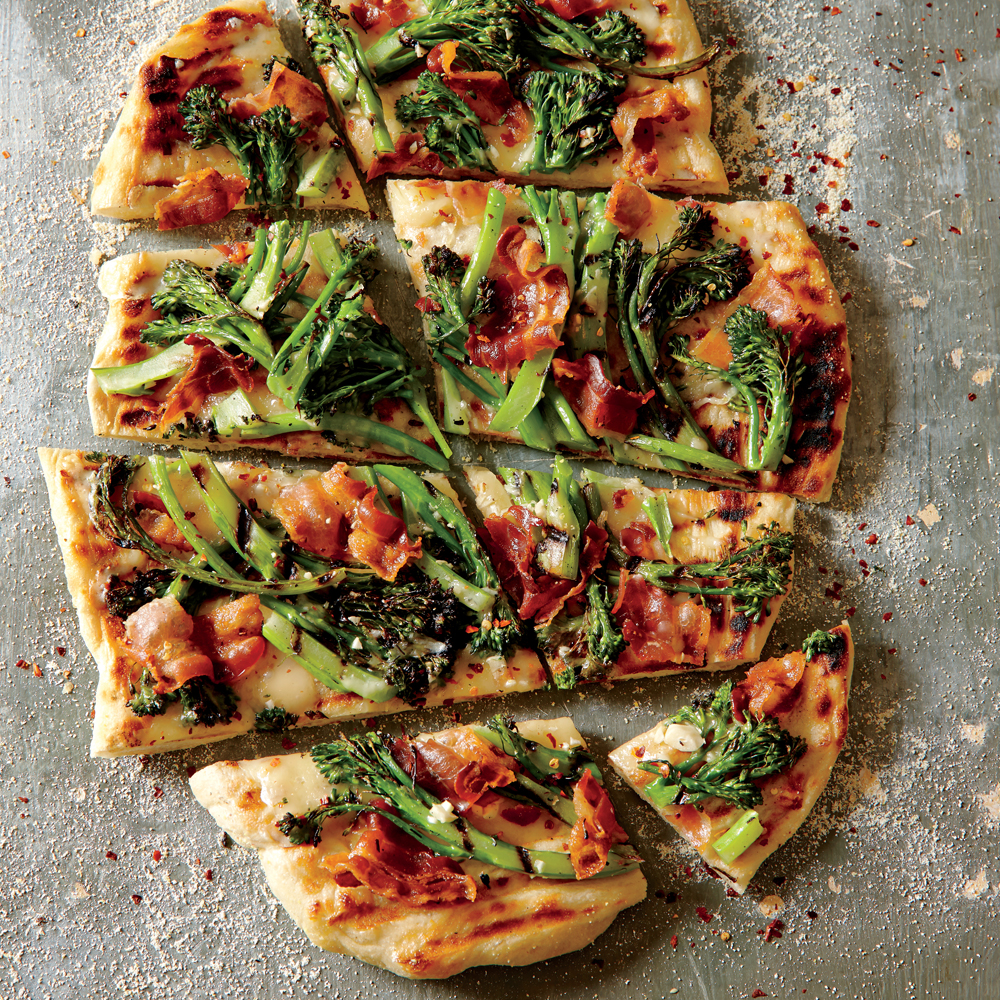 Grilled Purple Sprouting Broccoli and Bacon Pizza
