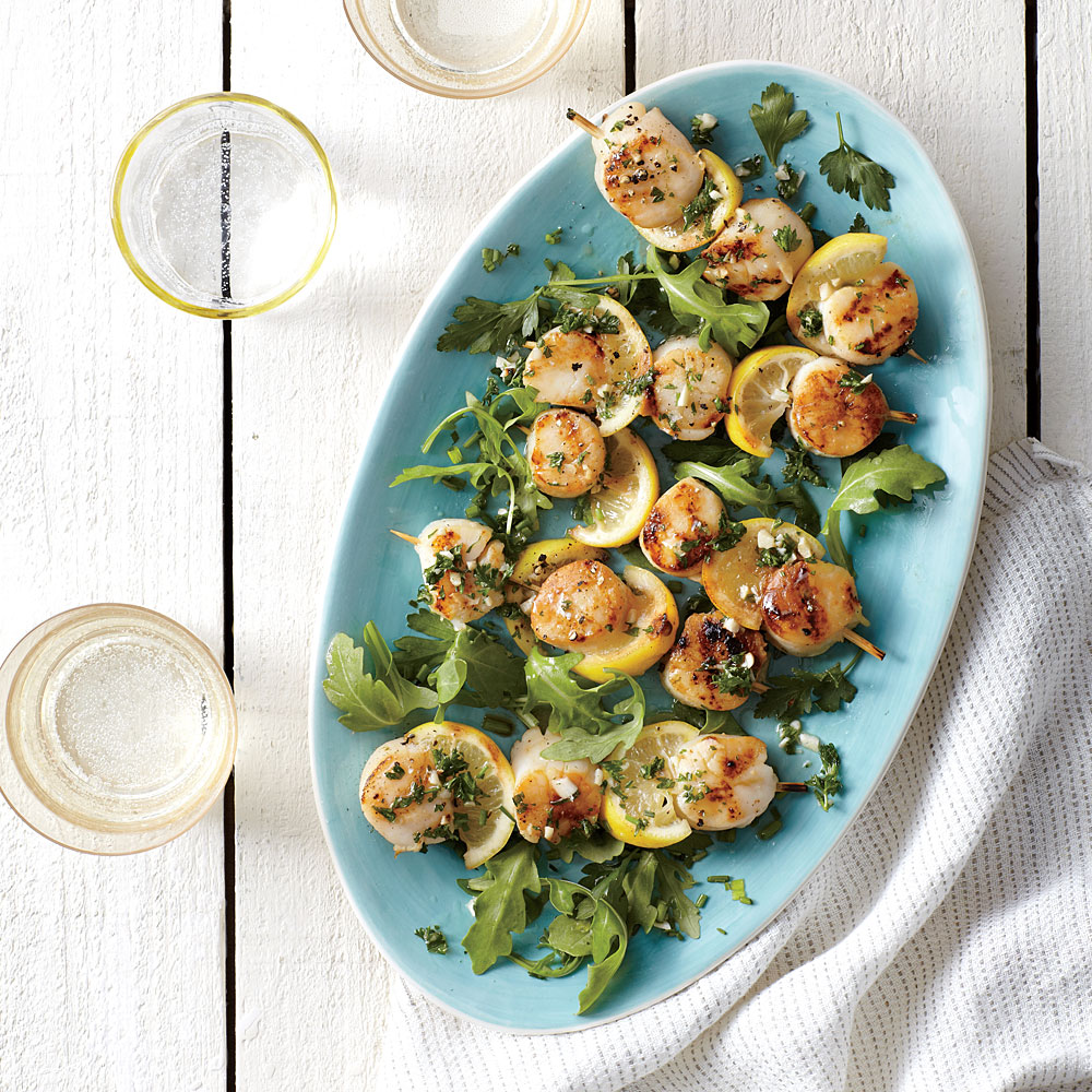 Grilled Scallop Scampi Kebabs with Arugula and Herb Salad