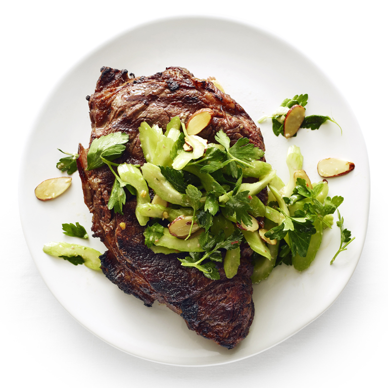 Grilled Steaks with Celery and Anchovy Salad