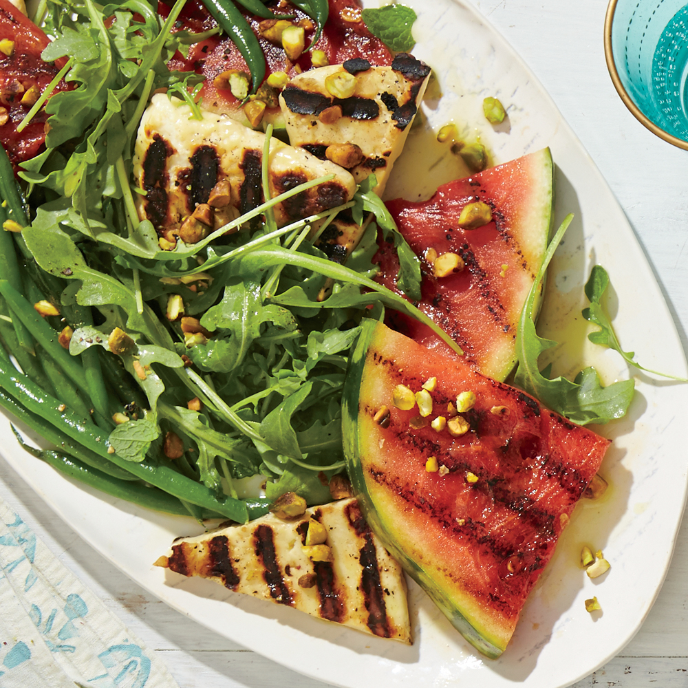 Grilled Watermelon and Halloumi Salad with Minty Green Beans