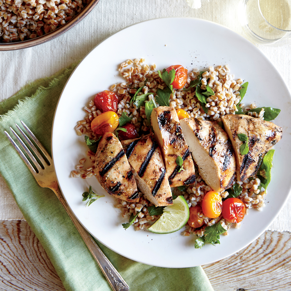 Herbed Wheat Berry and Roasted Tomato Salad with Grilled Chipotle Chicken Breasts