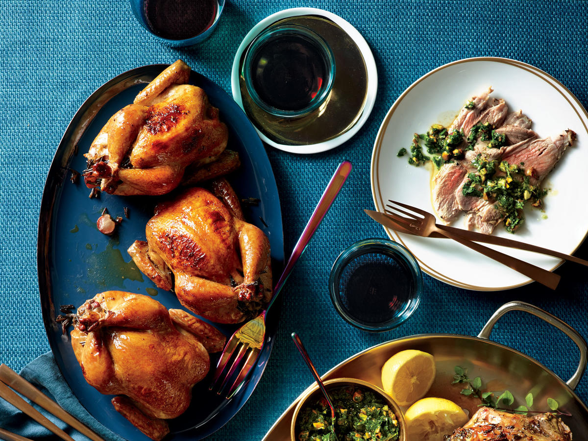 Glazed Cornish Hens with Wild Rice Stuffing