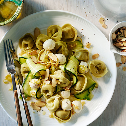 Spinach Cheese Tortellini with Zucchini, Mozzarella and Toasted Almonds