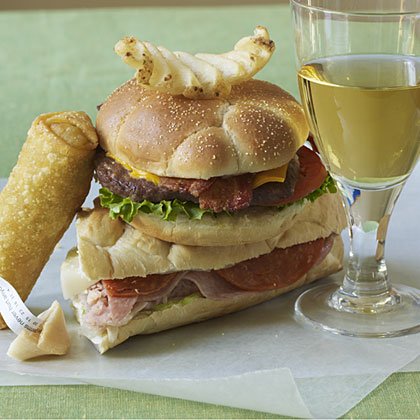 Pairing inexpensive wine with fast food.