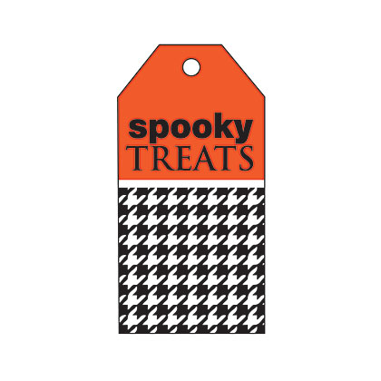 Holiday Gift Tag - Halloween Black Houndstooth