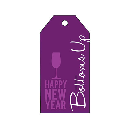 Holiday Gift Tag - New Year Bottoms Up
