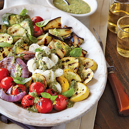oh-Grilled Vegetable Caprese with Pesto