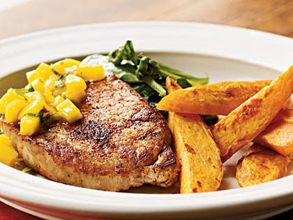 Spiced Chops with Mango-Mint Salsa Menu