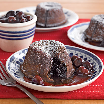 Molten Chocolate Cakes with Cherry Sauce