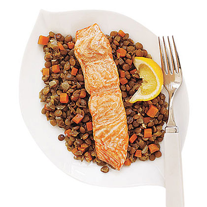 Lentils with Salmon