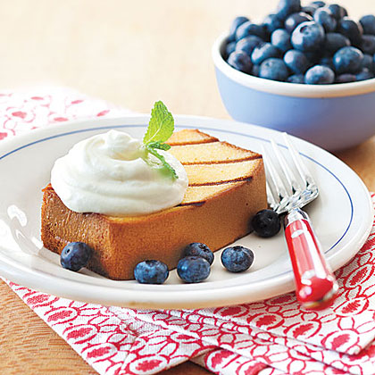 ay-Grilled Pound Cake with Lemon Cream and Blueberries